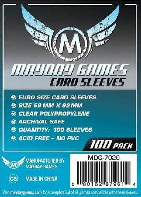 Protèges Cartes Euro Sleeves - 59x92mm (x100) MAYDAY GAMES pas cher