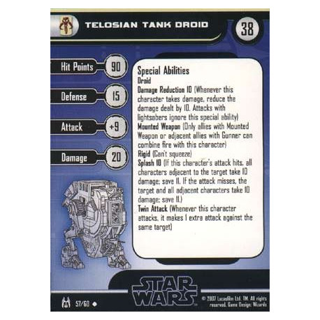 57/60 Telosian Tank Droid FORCE UNLEASHED unco pas cher