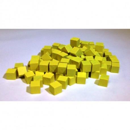 20 cubes bois jaunes 8mm pas cher
