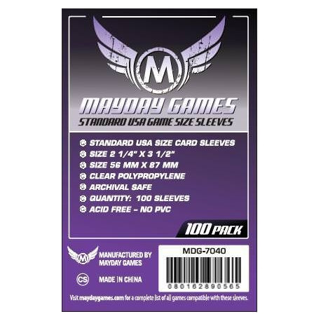 Protège Cartes Standard USA Sleeves - 56x87mm (x100) MAYDAY GAMES