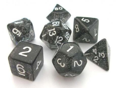 Set de dés - Paillettes - Noir/Blanc
