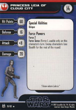 19/60 Princess Leia of Cloud City FORCE UNLEASHED rare