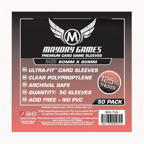 Protège cartes Medium Square premium - 80x80mm (x50) MAYDAY GAMES
